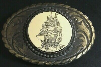 Vintage Oden Inc. Oval Sailing Ship Belt Buckle Brass Scrimshaw-like Insert
