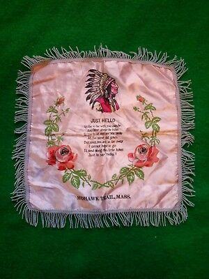 Vintage Souvenir Pillowcase◾*Mohawk Trail Massachusetts*◾Native American Theme