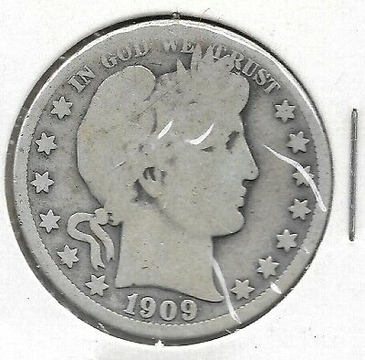 U. S. Barber Half Dollar,  50 cent piece, minted in 1909 (#2)