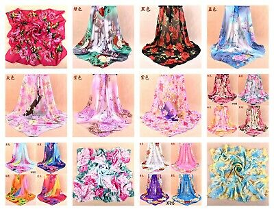 """US SELLER- 10 chiffon shawls flower 37.4"""" large square discount scarves cheap"""