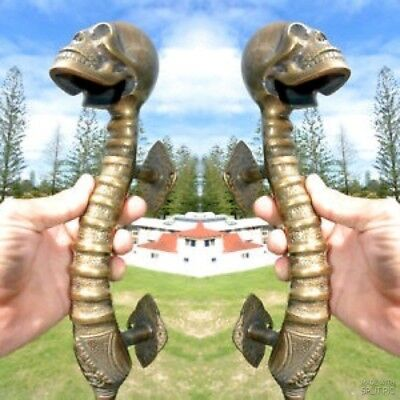 2 large SKULL head handle DOOR PULL spine cast heavy BRASS old  Aged style 33cmB