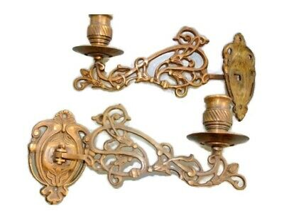 """2 PIANO SCONCE solid heavy brass 8 """" rotate candle holder aged heavy brass B"""
