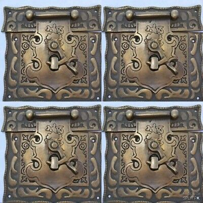 """4 box Latch catch solid brass furniture antiques doors kitchen old style 3"""" B"""