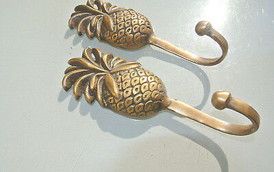 2 PINEAPPLE COAT HOOKS small solid brass antiques vintage old style 12 cm hook B