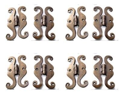 "8 small snake hinge old aged style solid Brass kitchens antiques doors 4""B"