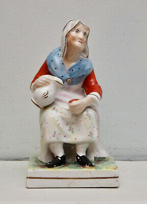 A Good c19th Antique Staffordshire Figure, Old Lady with Ewer after John Hall
