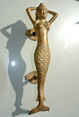 "medium MERMAID aged pure brass door PULL old style heavy house PULL handle 13"" B"