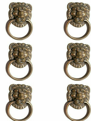 "6 LION PULLS handles Small heavy SOLID BRASS old style screws house antiques 2""B"