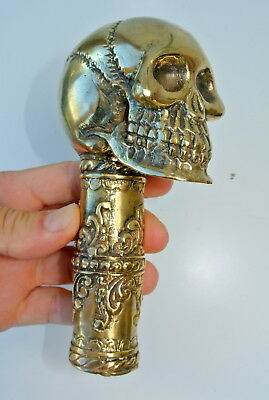 "SKULL Head polished brass walking stick End pure brass handle crutch hollow 6"" B"
