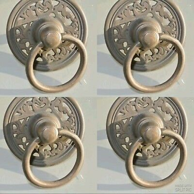 4 handle ring pull solid brass heavy old vintage aged style DOOR  9 cm  bolt B