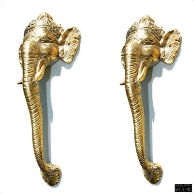 "2 Ganesha Elephant DOOR PULL HANDLE 11 "" long solid BRASS trunk door age 28 cm B"