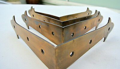 4 large corners strap solid Brass antiques vintage style BOX edge tables 150mm B