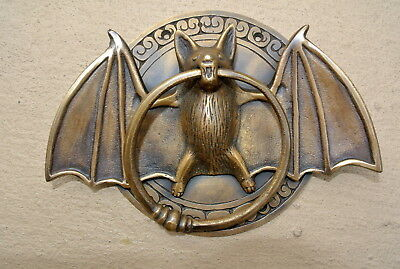 "heavy Door Knocker BAT ring old heavy SOLID cast BRASS vintage antique style 7""B"