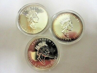 Lot Of 3 Silver Maple Leafs 1 oz.  BU coins 1999/2000 ,2000, 2001 3oz total