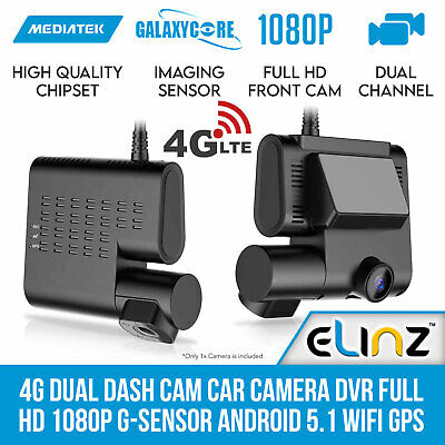 """2"""" LCD Dual Dash Cam Camera Car Video 1296P Uber Taxi Hardwire Kit Charger Elinz"""