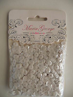 Maria George Sequins - White 6mm 50 gms - Maria George (1pkt)