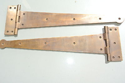 "2 massive hinges vintage aged style solid Brass DOORS BOX very heavy 18"" long"