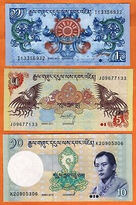 BHUTAN 2011-17 Set UNC 1,5,10 Ngultrum Banknotes Paper Money Bills P- 27,28,29
