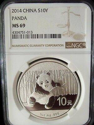 2014 China Panda 10 Yuan NGC MS69 1 Ounce Silver Coin SALE!