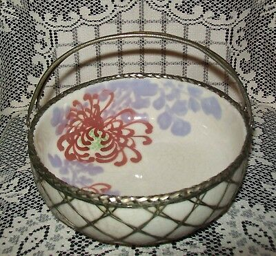 ANTIQUE JAPANESE PORCELAIN BOWL w/ WIRE WARE OVERLAY BASKET late 1800s