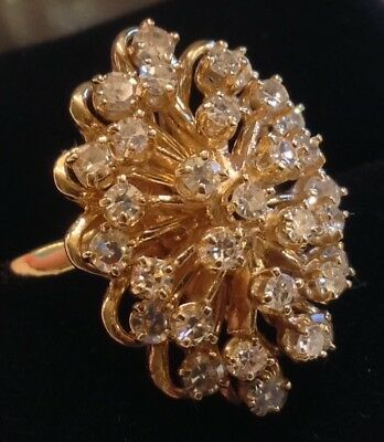 1.5 CT TW DIAMOND CLUSTER 14kt Ring Size 7 YELLOW GOLD ~PRICE REDUCED $100~