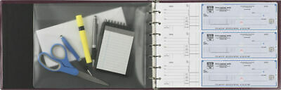 NEW ! 2 -  7-Ring 3-on-a-Page Padded Business Check Book Binder  Black&Blue