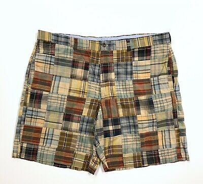 Brooks Brothers Madras Plaid Patchwork Shorts Mens Size 42 Preppy Multi Color