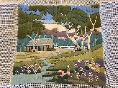 finished long stitch embroidery Australian bush homestead floral stream trees
