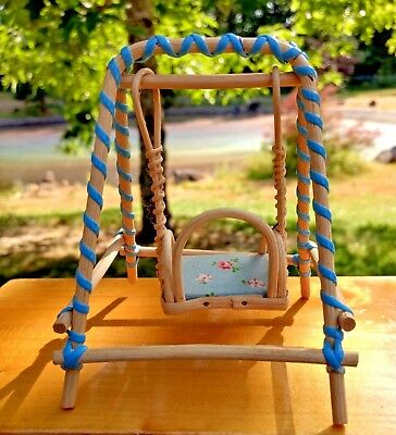 Pleasant Miniature Porch Swing Wood Fabric Dollhouse Patio Furniture Vintage W Germany Download Free Architecture Designs Scobabritishbridgeorg