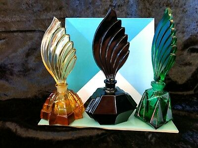 Vintage Czech New Old Stock ART DECO ' set of 3 ' Coloured  glass perfume bottle