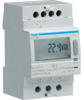 Hager KILOWATT-HOUR METER HAGEC150 230V 50-60Hz 10-63A 1-Phase Direct Connection