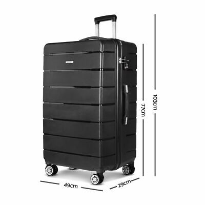Durable Hard-shell Trolley Luggage with Lock Travel Bag Suitcase Wheeled Black