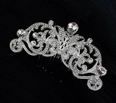 Wedding Bridal Rhinestones Crystal Diamante Headpiece Vintage Hair Comb-Silver