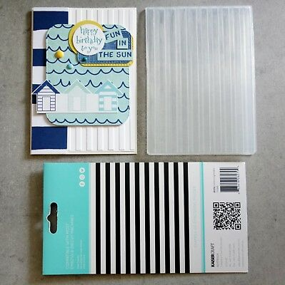 """""""Clearance"""" Kaisercraft Embossing Folder A2 Striped Lines Birthday Male Bnip"""