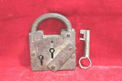 Vintage Old Rare Antique Iron Lock and Key Home Decor Collectible PV1