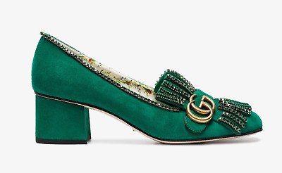 bb669757e122 Gucci Marmont Green Suede Crystal Logo Fringe Block Mid Heel Mule Loafer  Pump 39