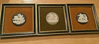 "1-Wedgwood Jasperware 4+"" Framed felt 1.75"" Medallion Green OR Black (2) NICE!"