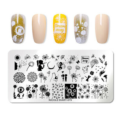 NICOLE DIARY Geometry Nail Stamping Plates Dandelion Nature Nail Art Stencil 079