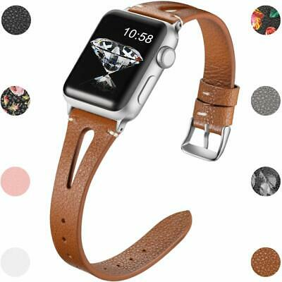 Slim Leather Bands Compatible Apple Watch Band Series 4 3 Stainless Steel Buckle
