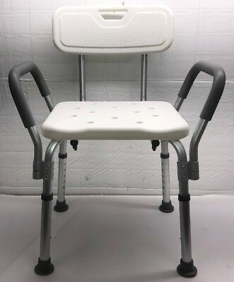 Medline Knockdown Bath Bench with Arms and Back, White, 1 Each - MDS89745RA