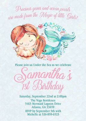 Watercolor Mermaid 1st Birthday Invitation Cute Invite Set Of 12 Invites