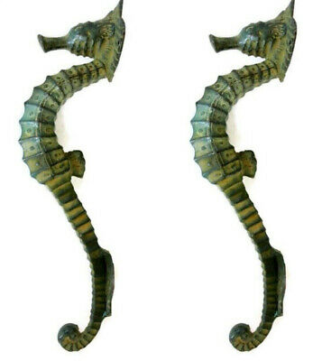 "2 small SEAHORSE solid brass door AGED GREEN old style house PULL handle 10"" B"