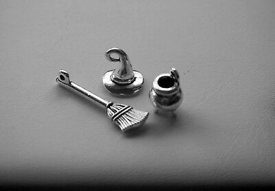Halloween Mixed Charms, Set of 3, Tibetan Silver, Cauldron, Broom, Witch Hat