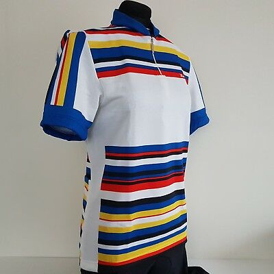 Santini Vintage Cycling Jersey Short Sleeve M White Stripes New with tags  Retro d9455264a