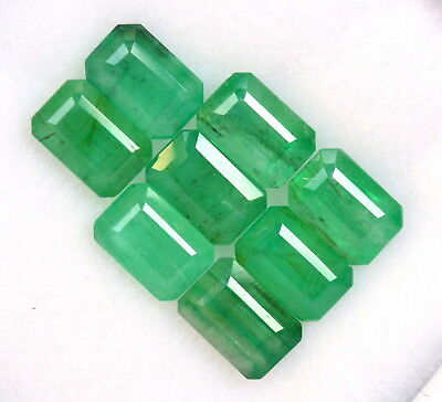 Certified Natural Emerald Octagon Cut 6x4 mm Lot 12 Pcs 6.51 Cts Untreated Gems