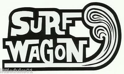 SURF WAGON WOODY Panel Van UTE Surfboard Sticker Decal Longboard Surfing Ford VW