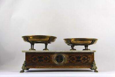 Antique French, Rare Design Wood & Marble Top, Brass Dish Weigh Scale