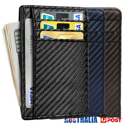 Mens Credit Card Holder Leather RFID Blocking Carbon Fiber Wallet Money Clip AU