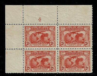 1931 Kingsford Smith - 2d Red - Plate Block #4 (MLH)