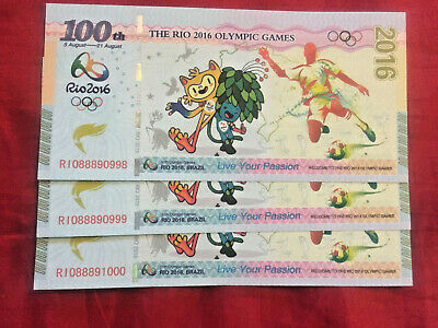 2 x OLYMPIC GAMES BRAZIL 2016 BANKNOTES  UNC TEST SOUVENIR BANK NOTE CURRENCY